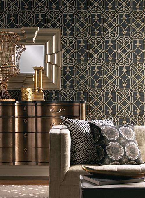 mixing metals wallpaper room