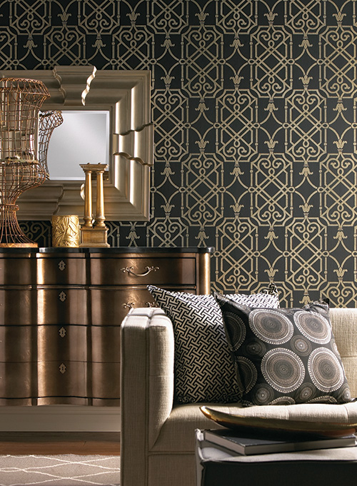 mixing metals wallpaper room